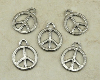 5 Peace Sign Symbol Charms > World Peace Hippy Activist - Raw Unfinished American Made Lead Free Silver Pewter - I ship Internationally