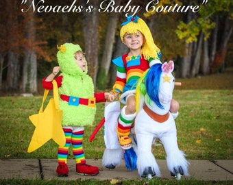 Rainbow Brite Costume Child Size Cosplay Quality Halloween Costume 80's Vintage Costume