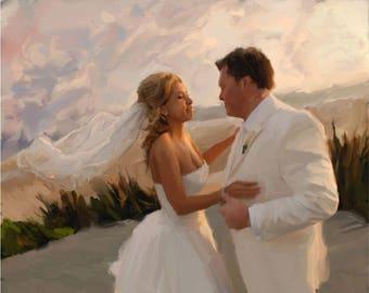 Custom Painting Wedding Anniversary Gift from Photo Wedding Portrait Personalized