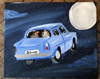 Harry Potter Flying Ford Anglia Canvas Painting