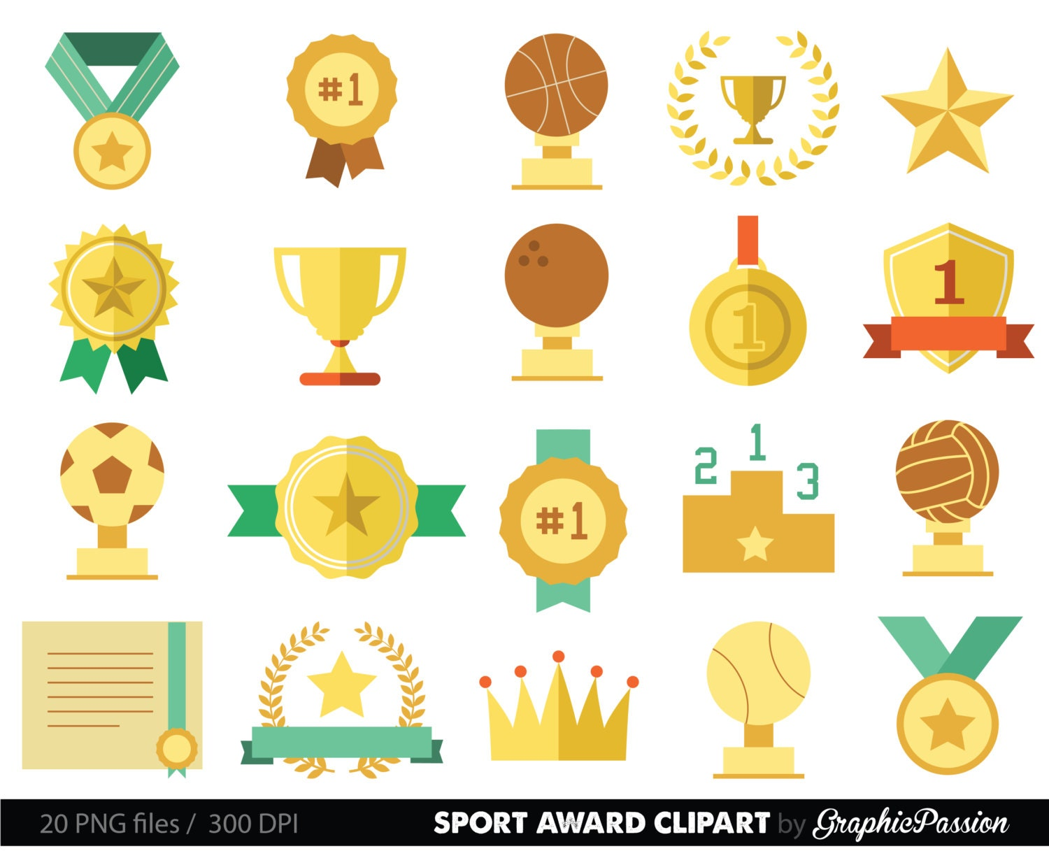 Sports Clipart Racing Prizes Flags Digital Paper Stars Medals