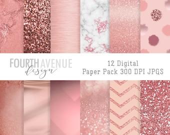 INSTANT DOWNLOAD, Rose Gold Patterns Set 1 , printable, digital scrapbook paper, digital paper, background #2018PPRG