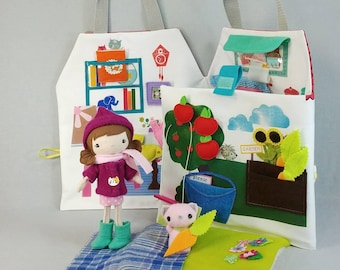 PlayhouseTote with Pocket Studio Doll and Friend - Girl, Dollhouse, Doll, Travel, Tote Made to order