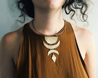 C E L E S T I A L >> Brass Lunar Neck Cuff // moon jewelry / moon phases / lunar necklace / statement necklace / bohemian jewelry
