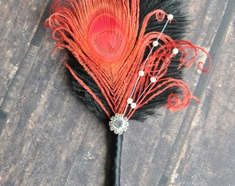 Black Red Bridal boutonniere Ostrich Feather Bridal 1920s groomsmen boutonnire wedding groom feathers boutonniere button hole