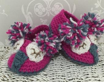 Crochet Owl baby slippers booties