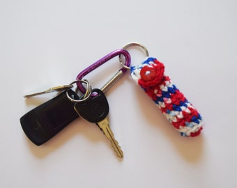 Patriotic Lip Balm Holder -  Chapstick Key Chain  - Crochet