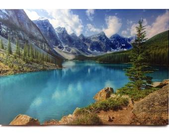 Relaxing View Moraine Lake.  Wood Printed
