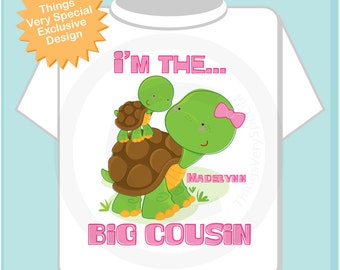 Personalized I'm The Big Cousin Girl Turtle Shirt, Big Cousin Onesie, with Little Cousin Baby Turtle (11082013a)