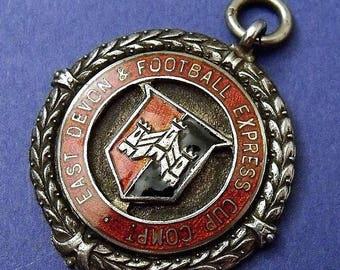 Vintage Solid Silver Albert Pocket Watch Chain E Devon Fob Football Soccer Medal (8163)