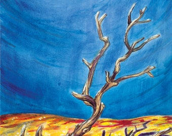 Moon and Sand Dunes Fine Art Print - Michigan, Sleeping Bear Dunes, Surreal, Nature, Desert, Watercolor