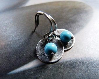 Howlit turquoise dandelion silver earrings, Sterling silver, rustic dangle earrings, natural jewelry, gift for daughter, 20th birthday gift