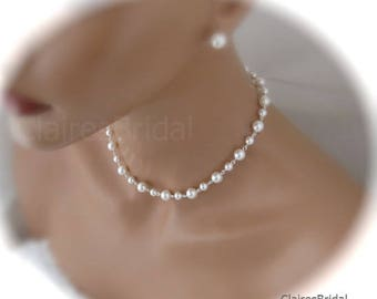 Swarovski Pearl Wedding Jewelry Set Necklace and Earrings Set