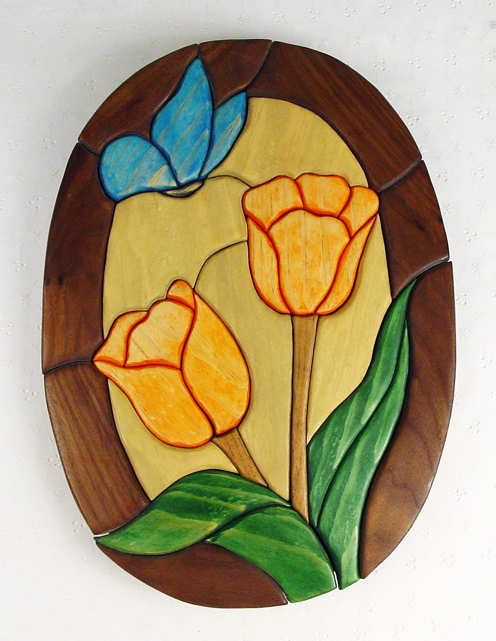 Handcrafted Wooden Intarsia Orange Tulip Flower Blue Butterfly Wall ...