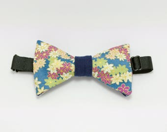 "Bow tie blue green and purple ""Hanami morning"""