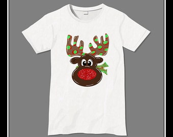 Rudolph with sparkly red nose reindeer Iron On Transfer Heat Press Digital Download Girl Rudolph
