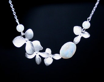 Orchid Necklace, Freshwater Coin Pearl Necklace, Silver Orchids, Sterling Silver, Bridesmaid Gift, Wedding Jewelry