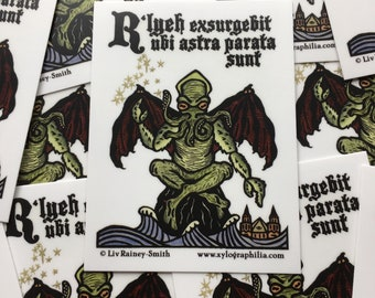 Cthulhu R'lyeh will Rise when the stars are right sticker indoor/outdoor vinyl