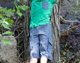 50% de rabais Shorts pour garçon, denim léger, jeans bleu, vêtement enfant, poches cargos