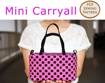 Mini Carryall PDF Easy Sewing Pattern | PDF Sewing Pattern | Top Zipper Pouch Pattern | Zipper Pouch Pattern | Make up pouch pattern