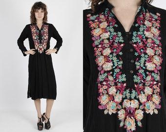 India Dress Ethnic Dress Boho Dress Bohemian Dress Black Dress Vintage 80s Dress Floral Embroidered Dress Hippie Festival Midi Mini Dress