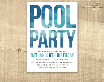 pool party invitation pool birthday invite water party boy girl 16th birthday sweet 16 1st teen first party watercolor modern printable