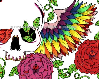 Rainbow Skull 8x10 Print with Colorful Wings and Roses, LIMITED EDITION print, Original Alternative Gift Idea, Wall Decor, Skull Art Artwork