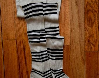 Rare Vintage 1920s Stockings Art Deco Striped Black & White Edwardian 20s 30s