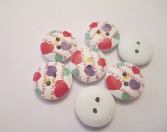 20 Painted Heart Wooden Buttons Sewing Craft Supplies