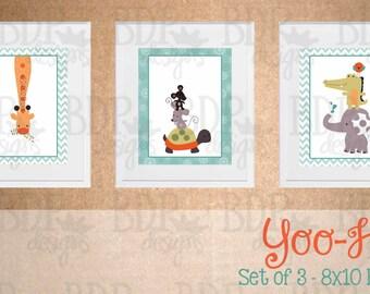 Yoo Hoo Jungle  Nursery Art - Set of 3 Prints