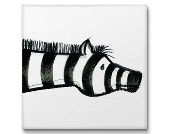 Nursery Wall Art Canvas Prints, Zebra Art Black And White, Animal Lover Gifts Baby Shower Gift Kids Wall Art Nursery Decor Zebra Gift. MS015