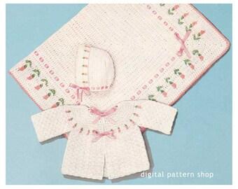 Baby Crochet Pattern Sweater Bonnet & Blanket Crochet Rosebud Set Pattern PDF Instant Download Infant to 6 Months C78