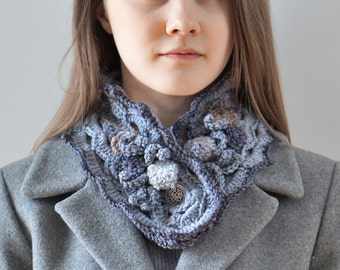Beach Stone scarf, Collar style scarf, in gray and beige, by the sea scarf, ocean scarf, READY to SHIP, gray scarf, small scarf