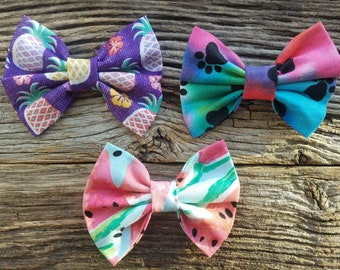 Summer Dog bowtie collection 3 pack, pineapple, watermelon and tie dye