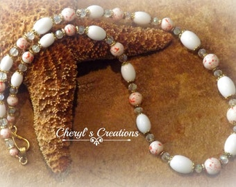 Simply Summer Orange & White Vintage Beaded Necklace