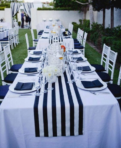 navy blue and white striped tablecloth, table runner, Cotton ...