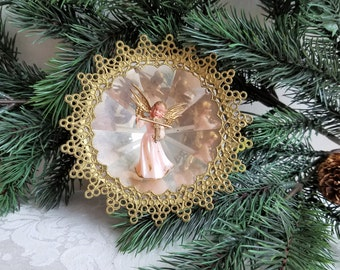 Vintage Angel Christmas Ornament Diorama With Mirror Prisms & Gold Lace Filigree, Violin Music Musician