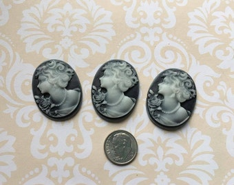 Charcoal Grey Cameo Cabochon- Silhouette-Qty of 3