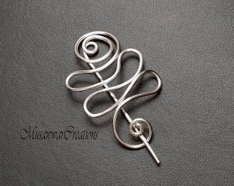 Silver shawl pin,silver wire scarf pin,silver wire sweater pin, scarf pin,shawl brooch,shawl pin