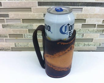Beer Can Holder / Vintage Hand Made Tooled Leather Beer Holder with Handle / Gift for Christmas / Corona Beer Holder / Gift for Beer Lover /