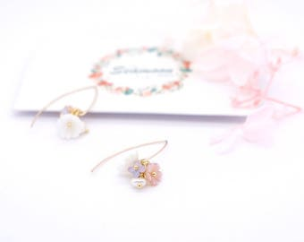 cherry  blossom flower earring ,hook earring, secret garden collection,seamoon