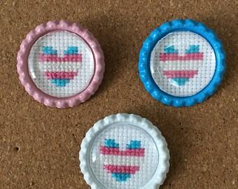 Trans Pride Heart Pin - Cross Stitch