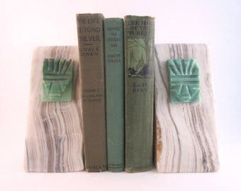 Vintage Bookends / Marbled Granite / Carved Onyx / Office / Library / Natural Geometric