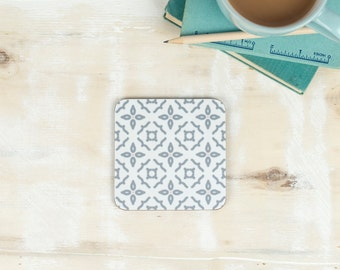 Meryam Coaster, moorish tiling design, pretty geometric pattern, grey, pink and blue drink tablemat, placemat from our Gilda range