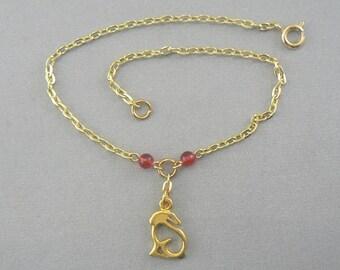Rabbit Silhouette Gold Anklet Ankle Bracelet