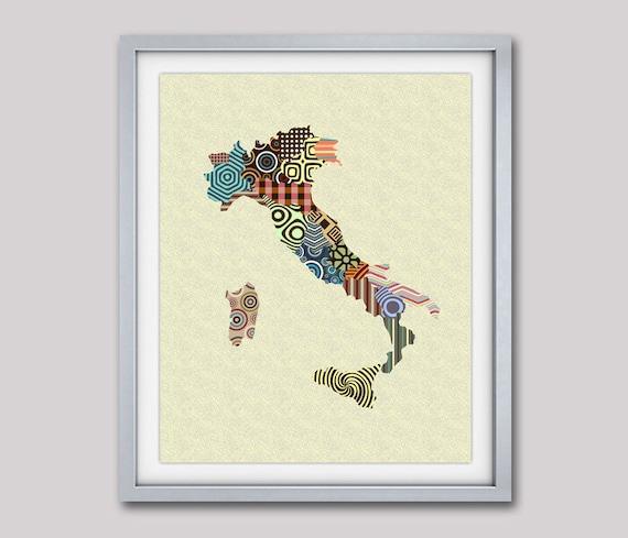 Italy Map, Map Of Italy, Italy Print Wall Art, Italy Painting, Italian Gift, Italian Decor, Italy Travel Art