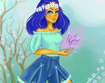 Blue girl I Art print