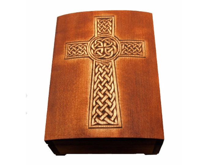 """wooden historical jewelry box with """"isle of man"""" celtic cross pattern"""