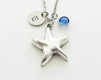 Starfish Necklace, Star Necklace, Ocean Jewelry, Summer, Beach, Swarovski Birthstone, Silver Initial, Personalized Monogram, Hand Stamped