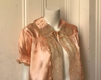 30's/40's Vintage Satin Lace lingerie top jacket med.